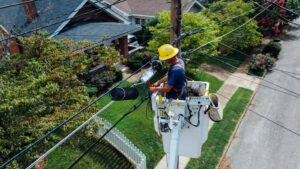 Pole Technician Hard at Work